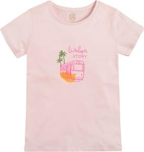 Różowa bluzka dziecięca Cool Club dla dziewczynek z bawełny z krótkim rękawem