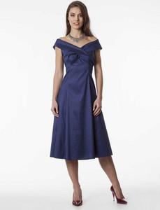 Niebieska sukienka Semper z krótkim rękawem z bawełny maxi