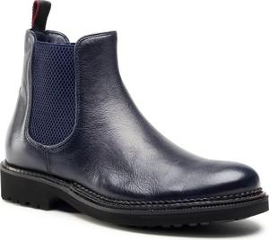 Granatowe buty zimowe Quazi ze skóry