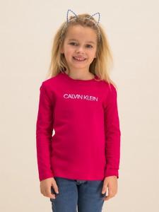 Różowa bluzka dziecięca Calvin Klein z jeansu z długim rękawem