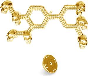 GIORRE SREBRNA WPINKA ADRENALINA, WZÓR CHEMICZNY 925 : Kolor pokrycia srebra - Pokrycie Żółtym 24K Złotem