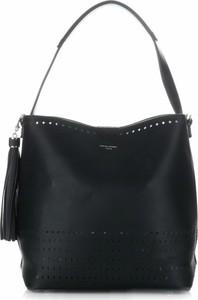 Czarna torebka David Jones w stylu casual na ramię duża