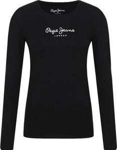 Czarna bluzka Pepe Jeans w młodzieżowym stylu z okrągłym dekoltem z długim rękawem