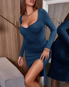 Sukienka Kendallme midi z długim rękawem dopasowana
