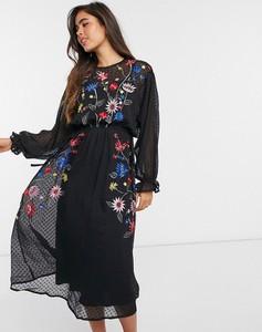 Sukienka Asos z długim rękawem z żakardu