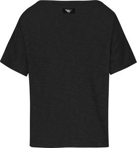 Czarny t-shirt Byinsomnia w stylu casual z krótkim rękawem