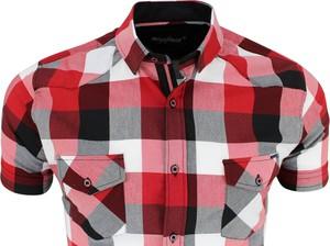 Czerwona koszula Megafinest z długim rękawem w stylu casual z klasycznym kołnierzykiem