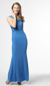 Niebieska sukienka Lipsy maxi gorsetowa z dekoltem w kształcie litery v