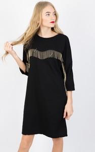 Czarna sukienka Olika z długim rękawem mini w stylu boho