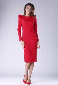 Czerwona sukienka Nommo midi z okrągłym dekoltem z długim rękawem