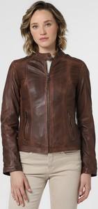 Brązowa kurtka Maddox w stylu casual krótka ze skóry