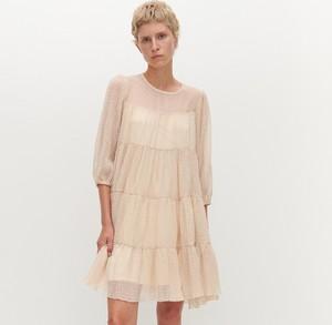 Sukienka Reserved z tkaniny z długim rękawem mini