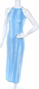 Niebieska sukienka Hennes z okrągłym dekoltem prosta maxi