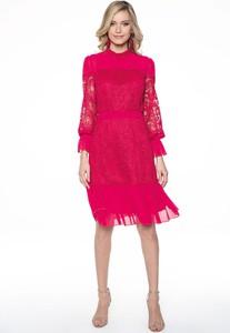 Czerwona sukienka Lavard z długim rękawem z okrągłym dekoltem midi