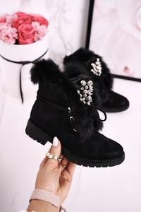Czarne buty dziecięce zimowe Msmg dla dziewczynek