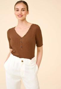 Brązowa bluzka ORSAY z dekoltem w kształcie litery v z krótkim rękawem