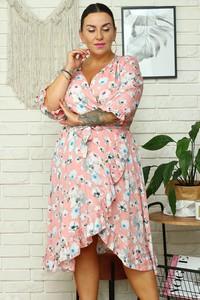 Sukienka KARKO midi z dekoltem w kształcie litery v