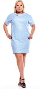 Niebieska sukienka Fokus z krótkim rękawem dla puszystych z okrągłym dekoltem