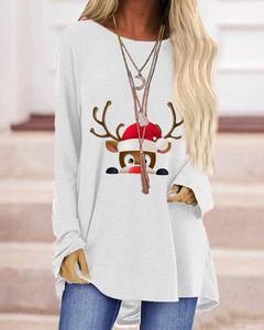 Bluzka Kendallme w bożonarodzeniowy wzór z okrągłym dekoltem z długim rękawem