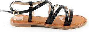 Czarne sandały Sixth Sens z płaską podeszwą w stylu casual z klamrami