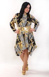 Sukienka Exclusive Line midi z długim rękawem z okrągłym dekoltem