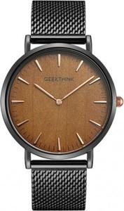 Zegarek premium GeekThink na czarnej bransolecie - brązowa tarcza