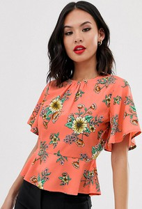 Pomarańczowa bluzka Wednesday`s Girl z okrągłym dekoltem w stylu boho