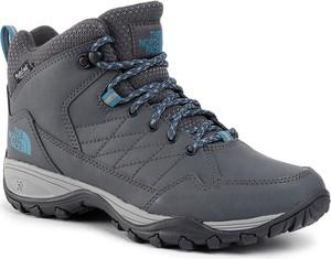 Granatowe buty trekkingowe The North Face sznurowane