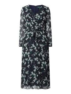 Granatowa sukienka Ralph Lauren prosta z dekoltem w kształcie litery v w stylu casual