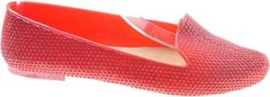 Czerwone baleriny Pantofelek24 w stylu casual z płaską podeszwą