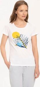 T-shirt volcano.pl z krótkim rękawem z bawełny z okrągłym dekoltem