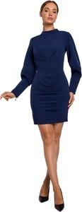 Niebieska sukienka MOE z tkaniny z długim rękawem mini