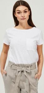 T-shirt Moodo z bawełny z okrągłym dekoltem z krótkim rękawem