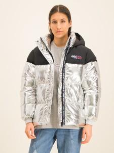 Srebrna kurtka Tommy Jeans krótka w młodzieżowym stylu