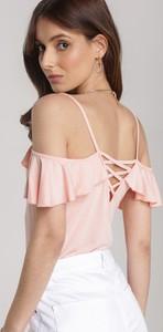 Różowa bluzka Renee w młodzieżowym stylu z krótkim rękawem