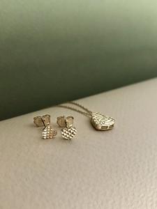Irbis.style złoty komplet biżuterii - kolczyki i naszyjnik