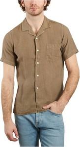 Brązowa koszula Hartford z kołnierzykiem button down z krótkim rękawem