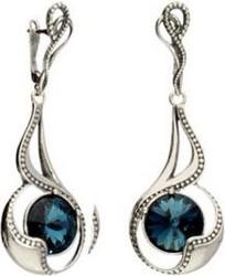 Polcarat Design Kolczyki srebrne oksydowane z kryształami Swarovski K 1969 : Kolor - Montana