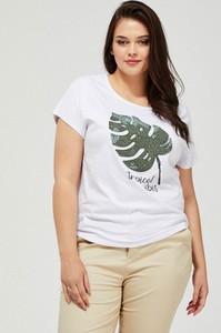 T-shirt Moodo z bawełny w młodzieżowym stylu z okrągłym dekoltem