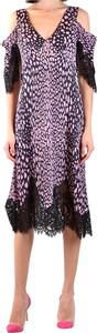 Fioletowa sukienka Alexander McQueen midi w stylu casual z dekoltem w kształcie litery v