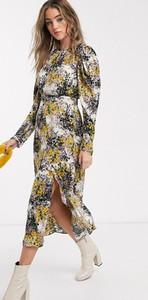 Sukienka Topshop z okrągłym dekoltem z długim rękawem