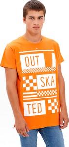 T-shirt Gate z bawełny z krótkim rękawem z nadrukiem