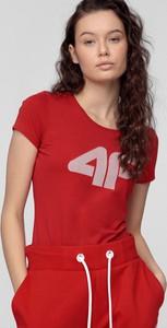 Czerwona bluzka 4F w sportowym stylu z dzianiny z krótkim rękawem
