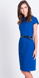 Niebieska sukienka QUIOSQUE mini z krótkim rękawem