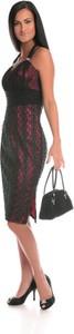 Czerwona sukienka Fokus w stylu glamour midi