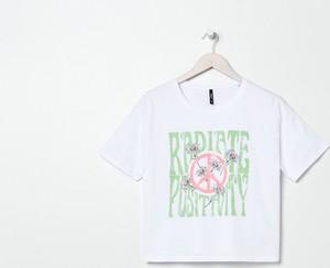 T-shirt Sinsay z bawełny z krótkim rękawem z okrągłym dekoltem