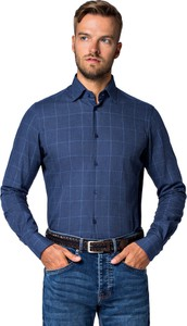 Niebieska koszula LANCERTO z bawełny z klasycznym kołnierzykiem z długim rękawem