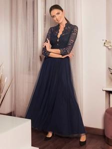 Granatowa sukienka POTIS & VERSO rozkloszowana