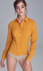 Pomarańczowa bluzka Nife z kołnierzykiem