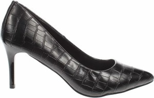 Czarne szpilki Etam ze spiczastym noskiem na wysokim obcasie na szpilce